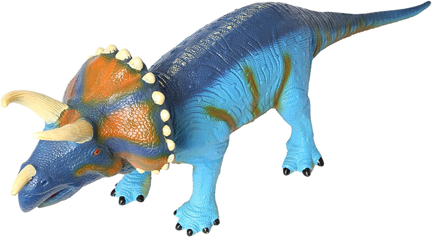 Oversize 28  10  9.5  Large Triceratops Educational Standup Dinosaur Model Action Figures Toy Soft Vinyl Plastic Realistic Dinosaur Toy for Kids (bluee)