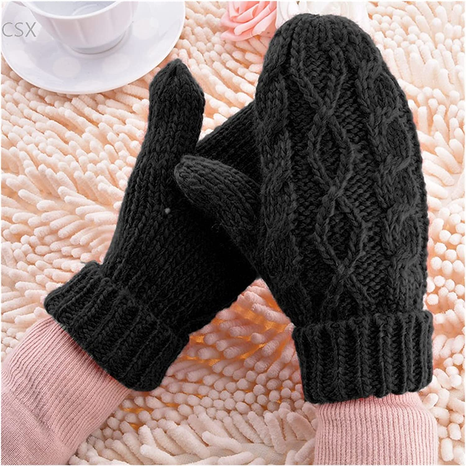 JSJJAWS Winter Gloves Warm Winter Gloves Women Mittens 8 Color Woman Ladies Lovely Knitted Gloves Girls Gift (Color : Black)