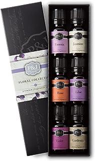 P&J Trading Floral Set of 6 Premium Grade Fragrance Oils - Violet, Jasmine, Rose, Lilac, Freesia, Gardenia - 10ml