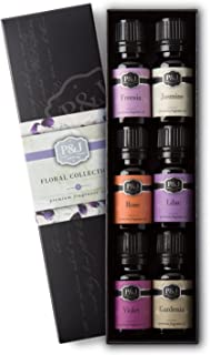 P&J Trading Floral Set of 6 Premium Grade Fragrance Oils - Violet, Jasmine, Rose, Lilac, Freesia, Gardenia - 10ml