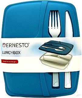 Ernesto - Fiambrera de 3 secciones con cuchillo y tenedor para microondas, lavavajillas y congelador