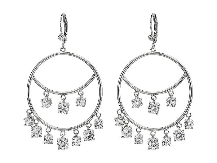 Nina  Aura Frontal Hoop Earrings (Rhodium/White CZ) Earring