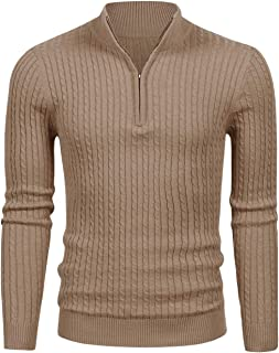 LTIFONE Mens Slim Fit Zip Up Mock Neck Polo Sweater Casual Long Sleeve Sweater and Pullover Sweaters with Ribbing Edge(16105Brown,L