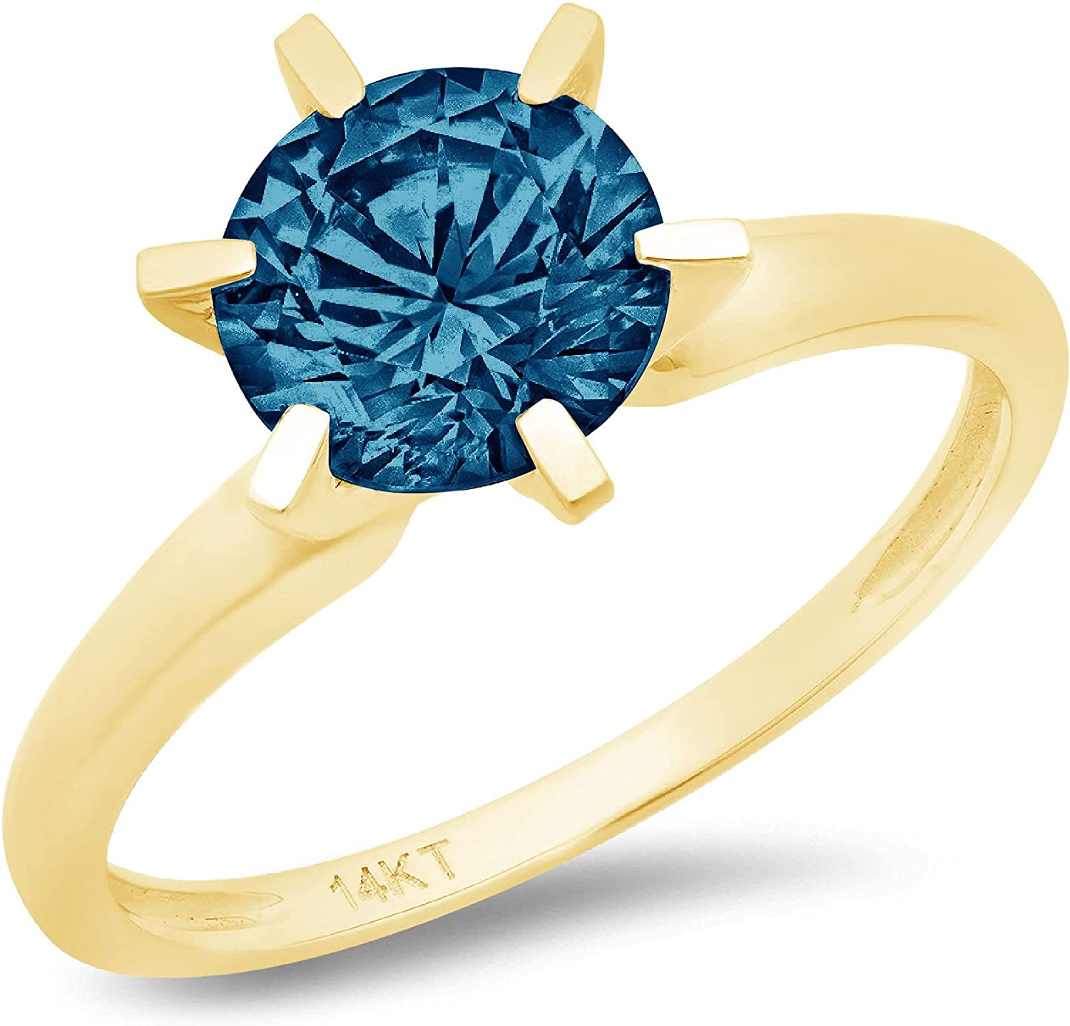 2.50ct Brilliant Round Cut Solitaire Natural London Blue Gem Stone Excellent VVS1 6-prong Engagement Wedding Bridal Promise Anniversary Ring in Solid Real 14k Yellow Gold for Women