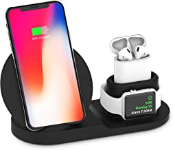 BESTBEING Wireless Charger, 3 in 1 Wireless Charging Dock for Apple Watch and Airpods, Charging Station for Multiple Devices, Qi Fast Wireless Charging Stand Compatible iPhone X/XS/XR/Xs Max/8/8 Plus
