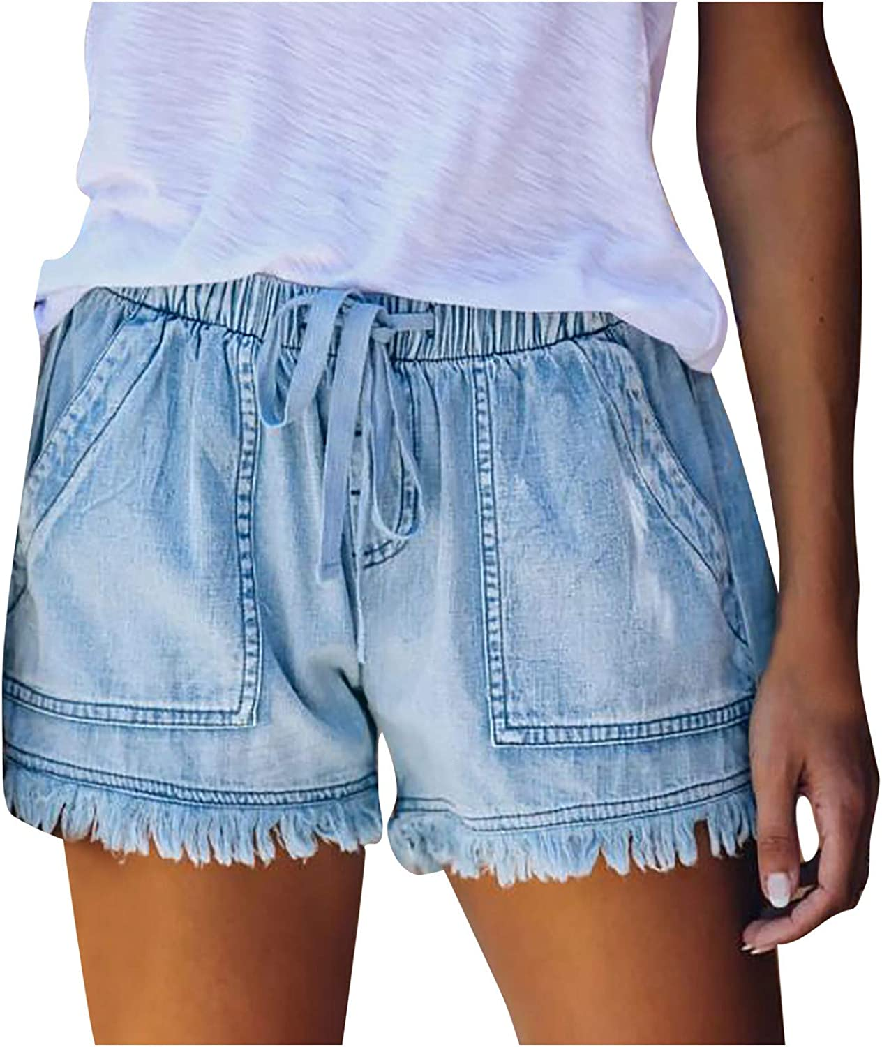 Denim Shorts for Women,Denim Shorts for Women Hot Casual Summer Stretchy Jeans Shorts with Pockets