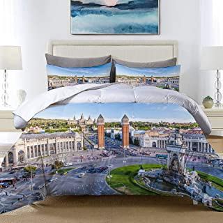 VANKINE City View of The Center Barcelona Spain Panorama Bus Cathedral Fountain Travel Studio Single Apartment Decorate Bedding Set Custom Design 3 PC Duvet Cover Set with 2 Pillow sham