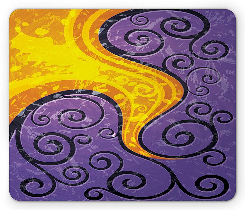 茎ファンタジーアンデス山脈抽象的なマウスパッド、ベクトル花のような円図形ロマンチックなデザインと鮮やかな詳細画像、標準サイズの長方形滑り止めゴムマウスパッド、紫と黄色