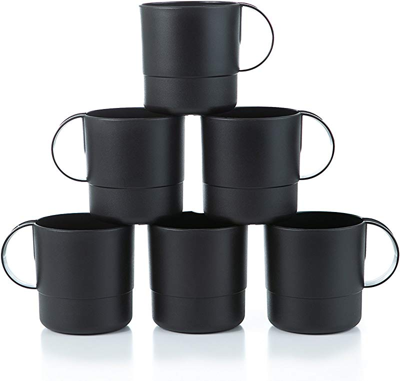 Amuse Eco Friendly Sturdy Unbreakable Stackable Mugs For Water Coffee Milk Juice Tea Set Of 6 11 Oz Black
