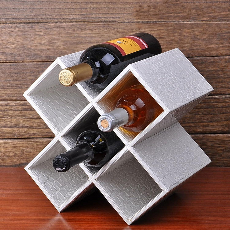 GRY Weinregal, europischer kreativer Mdf und Pu-Leder-Wein-Regal-Wein-Kühler, Hauptwein-Gestell