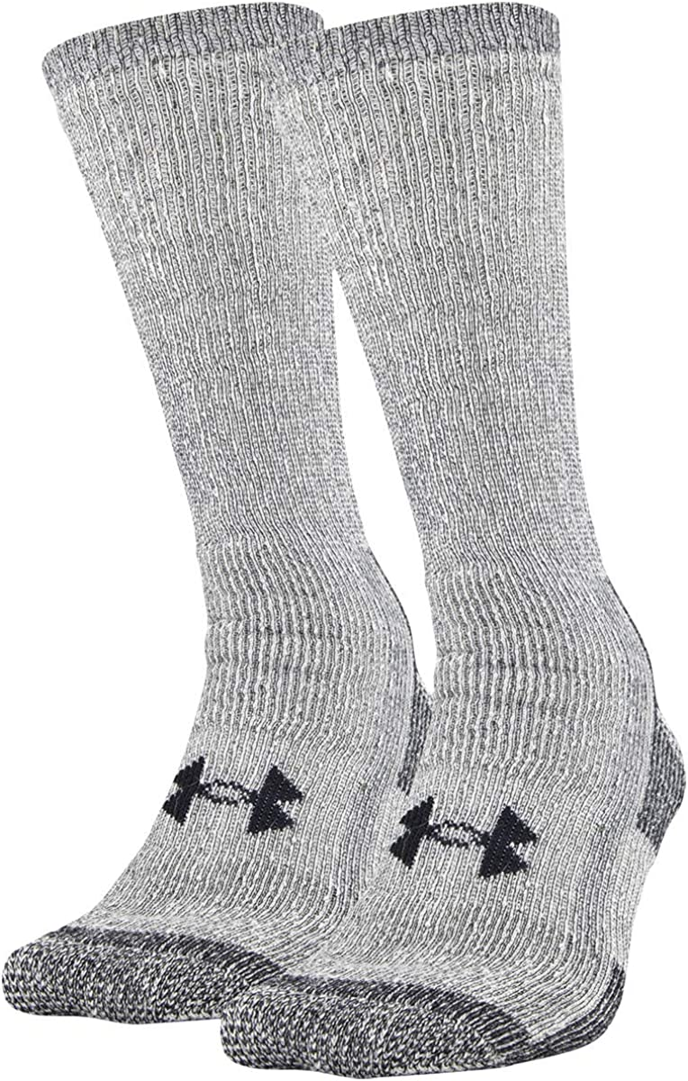 Under Armour Adult Hitch Coldgear Boot Socks, 2-Pairs , Grey , Large