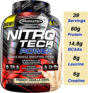 MuscleTech Nitro Tech Power Whey Protein Powder Musclebuilding Formula, French Vanilla Swirl, 4 Pounds