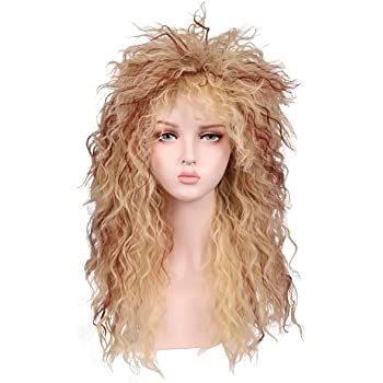80/'s Bottle Blonde Curly Quiff Wig Adult Womens Fancy Dress Costume Accessory
