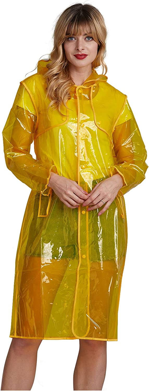 Long Transparent Rain Coat with Stylish Colorful Edge Waterproof Rain Poncho for Women Men