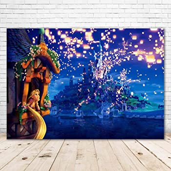 Amazon Com Cartoon Movie Photography Background Disney 7x5ft Glitter Light Island Castle Backdrops Tangled Princess Background Banner Camera Photo