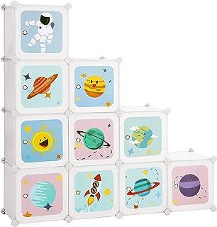 SONGMICS Meuble de Rangement Enfant 10 Cubes, Armoire modulable avec Portes, Étagère en Plastique, pour vêtements, Chaussu...