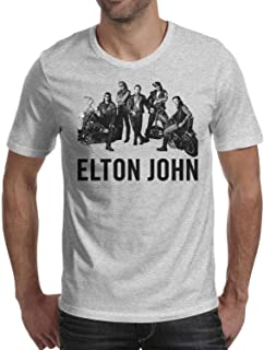Mens Guys Elton-John-Aids-Foundation- Tee Shirt Jersey Design Short Sleeved