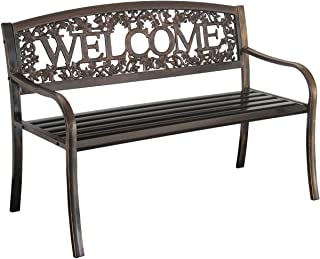 wrought iron entryway bench