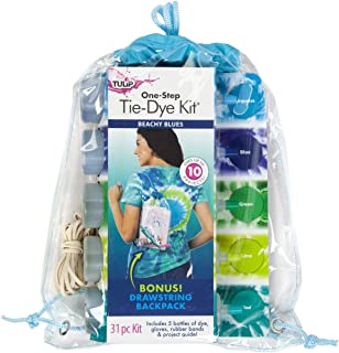 Tulip One-Step Tie Dye Backpack Kit Beachy Blues, 31pc, Party and Craft Supplies, Vibrant Colors for Fashion Art Projects