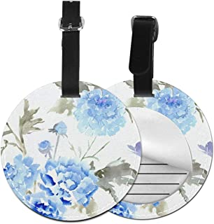 Round Luggage Tags Blue Watercolor Carnation PU Leather Suitcase Labels Bag
