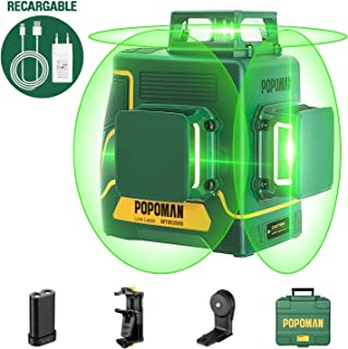 comprar comparacion POPOMAN Nivel Láser Verde, 3x360° Profesional Línea Laser,para Diseño de Interiores,USB Carga,Autonivelación, Función de P...