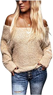 neveraway Women's Tops Off Shoulder Strapless Knit Sweaters Long Sleeve Tops