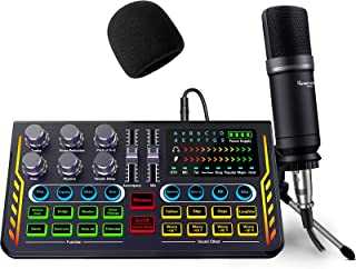 بسته پادکست تجهیزات ، رابط صوتی با DJ Mixer Sound Mixer All-in-One با میکروفون 3.5 میلی متری مناسب برای پخش مستقیم ، ضبط و بازی سازگار با رایانه شخصی / لپ تاپ / تلفن هوشمند