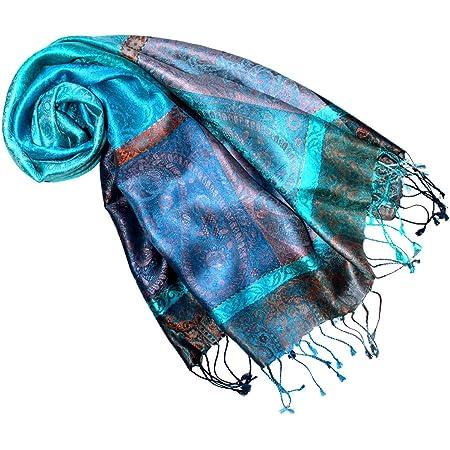 fait /à la main LORENZO CANA Pashmina pour la femme /écharpe de 100/% soie avec les mesures de 70 x 190 cm souple /él/égant en violet rose lilas bois de rose bleu ciel