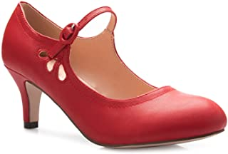7e9639e211 OLIVIA K Women's Kitten Low Heels Round Toe Mary Jane Pumps - Adorable  Vintage Retro Shoes
