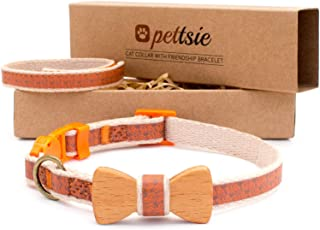Pettsie Cat Collar Breakaway Safety with Bow Tie and Friendship Bracelet for You, Durable 100% Cotton for Extra Safety, D-Ring for Accessories, Comfortable and Soft, Adjustable Size 8-11 Inch