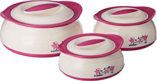 Amazon Brand - Solimo Inner Steel Casserole, Set of 3 (450/900/1450 ml), Pink