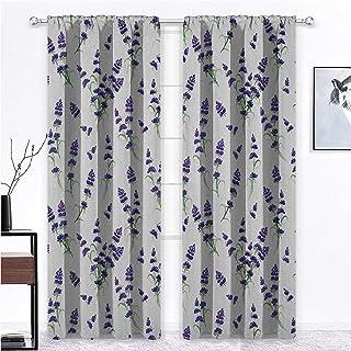 Nomorer Living Room Curtains Flower for Living/Bedroom Room Patio Door Watercolor Lavender Flowering Fragrant Pale Plant E...