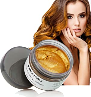 Hair Coloring Wax, Gold Disposable MOFAJANG Instant Matte Hairstyle Mud Cream Hair Pomades for Kids Men Women to Cosplay Nightclub Masquerade Transformation