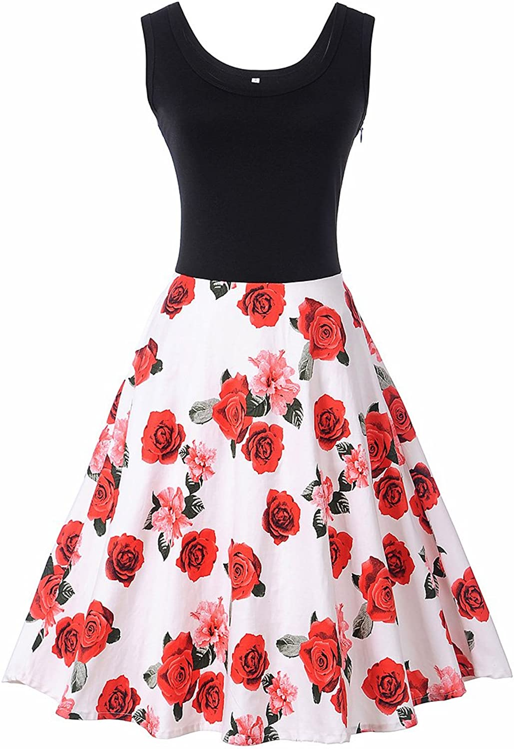 Coswe Women's Sleeveless Midi Dress Scoop Neck Vintage Floral Cocktail Party Dress