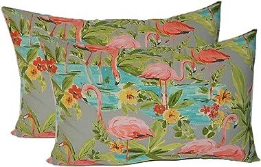 Set of 2 - Indoor/Outdoor Rectangle/Lumbar Decorative Throw/Toss Pillows ~ Waverly Elegant Tropical Platinum Flamingo - Grey Aqua Green Coral
