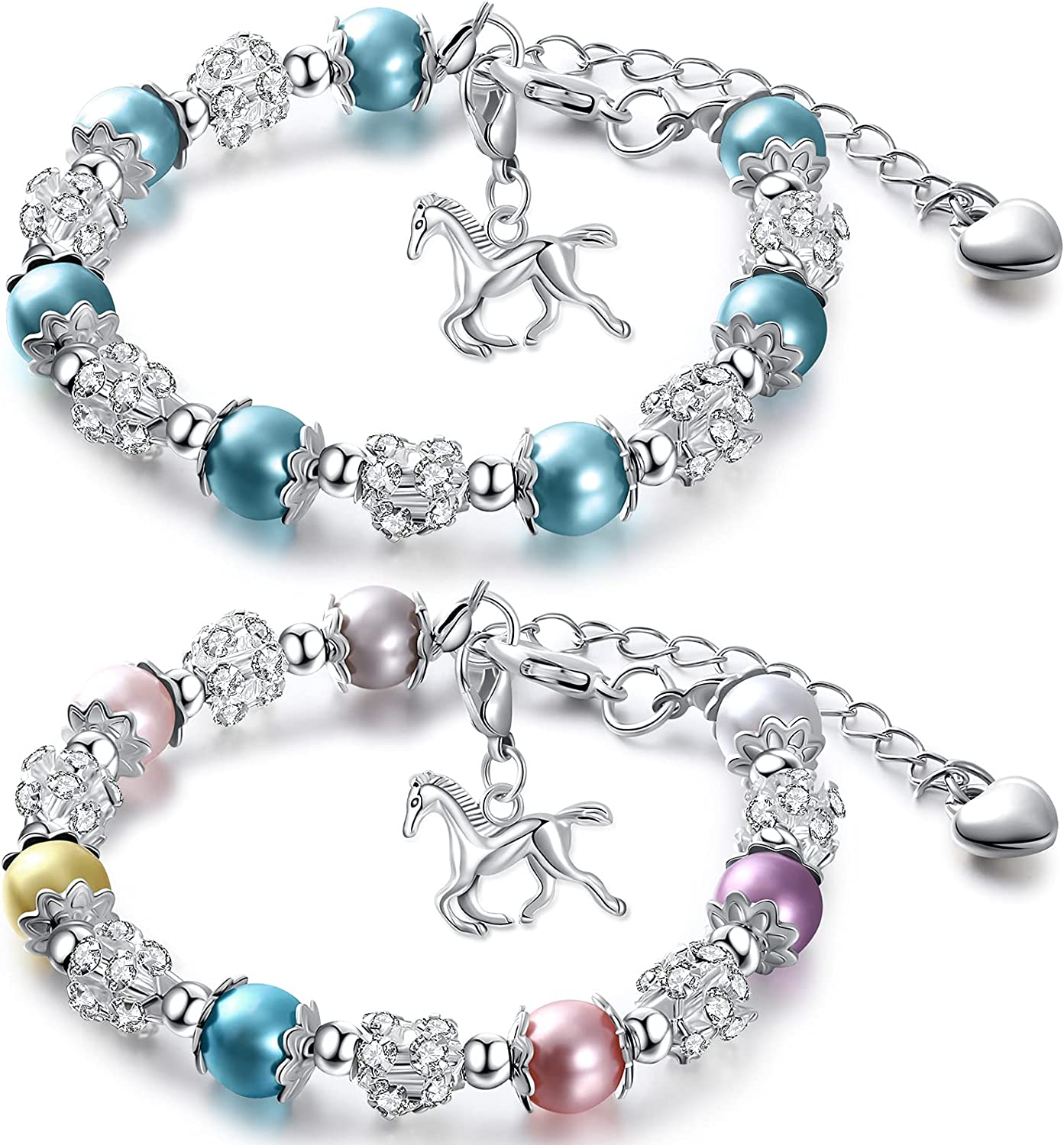 2 Today's only Pieces Girls Max 70% OFF Horse Beaded Charm Bracelet Crystal Hand