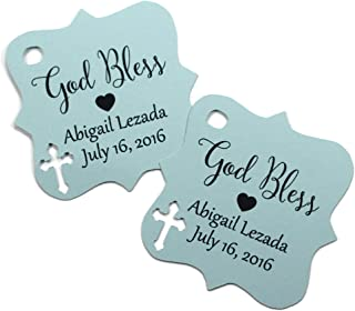 Small Personalized Christening Labels Thank You Tags for Confirmation God Bless Tags Grey Catholic Favors Grey Baptism Tags