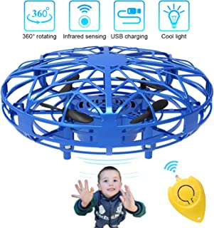 Mini Drones for Kids & Adults, RC UFO Helicopter with LED Lights, Hand Operated Easy Indoor Outdoor Small Orb Flying Ball Drone Toys Gifts for Beginners, Boys & Girls(Blue)