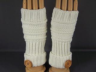 Lt Brown Tan fingerless gloves texting open thumb button knit arm warmer warmers
