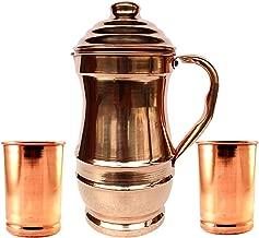 Rastogi Handicrafts Pure Copper Jug With 2 Glass Drink ware set Pitcher Tumbler/EXPEDITED SHIPPING WITH BAG (Maharaja Jug)