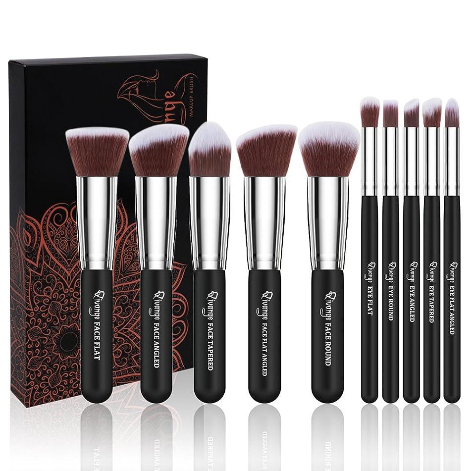 Qivange Makeup Brushes 10 Pcs Make up Brush Set Premium Synthetic Foundation Concealers Powder Eye Shadow Blending Fase Kabuki Brush Set, Black Silver