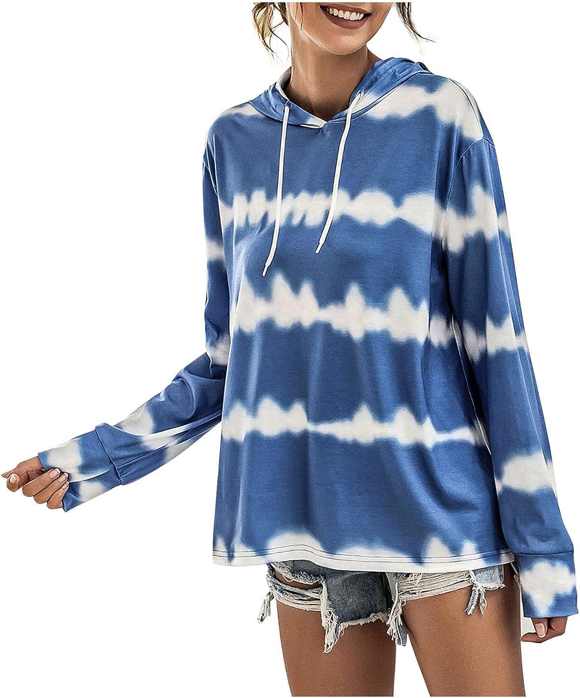Lazapa Women's Tie Dye Stripe Super sale period limited Under blast sales Long Sleeve Sweatshirt Drawstring