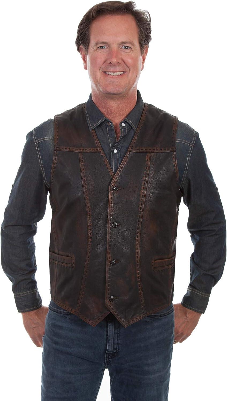 Scully Men's Leatherwear Leather Buck Stitch Vest - 1028-259-Brn