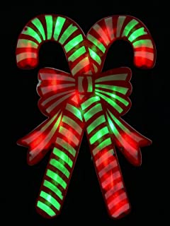 Red & Green Dual Bulb Twinkle PVC Candy Canes Light Silhouette - 49cm