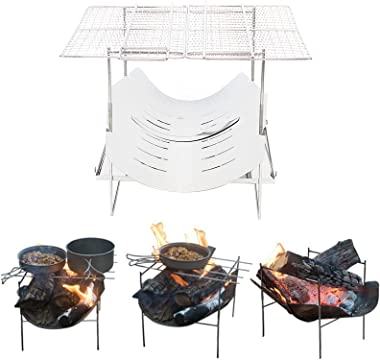 LOYALHEARTDY Folding BBQ Charcoal Grill, Stainless Steel Portable Outdoor Grills Foldable Compact Grill 2.2lb with Canvas Bag