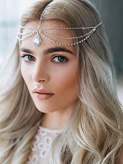 fxmimior Fashion Women Hot Bohe Halloween Charm Head Chain Vintage Rhinestones Crystal Drop Headpiece Headband Wedding Prom Eveing Women Girl Hair Accessories (rose gold)