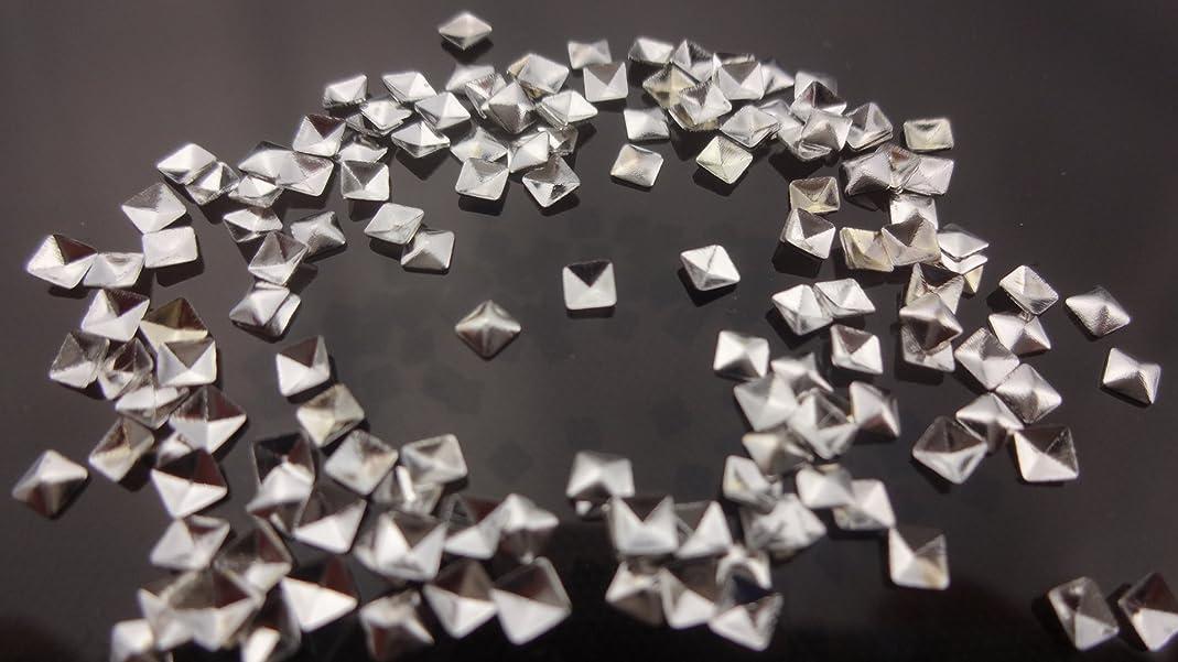組立条件付き計画【HARU雑貨】メタルスタッズ スクエア 四角 ピラミッド型 10個/ネイル パーツ デコ アクセサリー (2.5mm, シルバー)