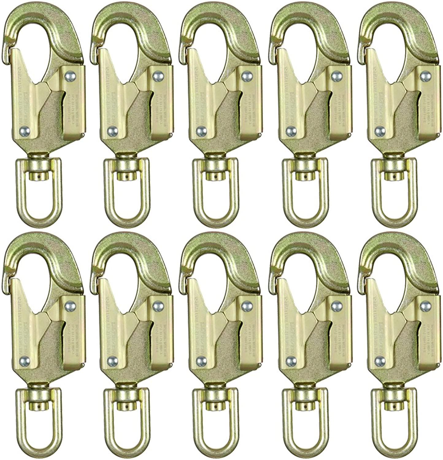 Fusion Climb Carbon Steel Drop Forged Double Locking Swivel High Strength Gate Snap Hook Carabiner 10Pack
