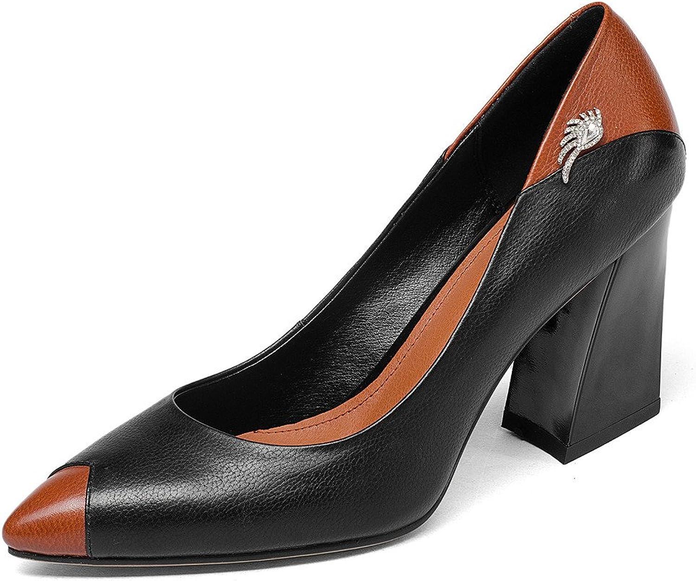 Nine Seven Cow Leather Women's Pointed Toe Block Heel Two Tone Elegant Handmade Style Pumps