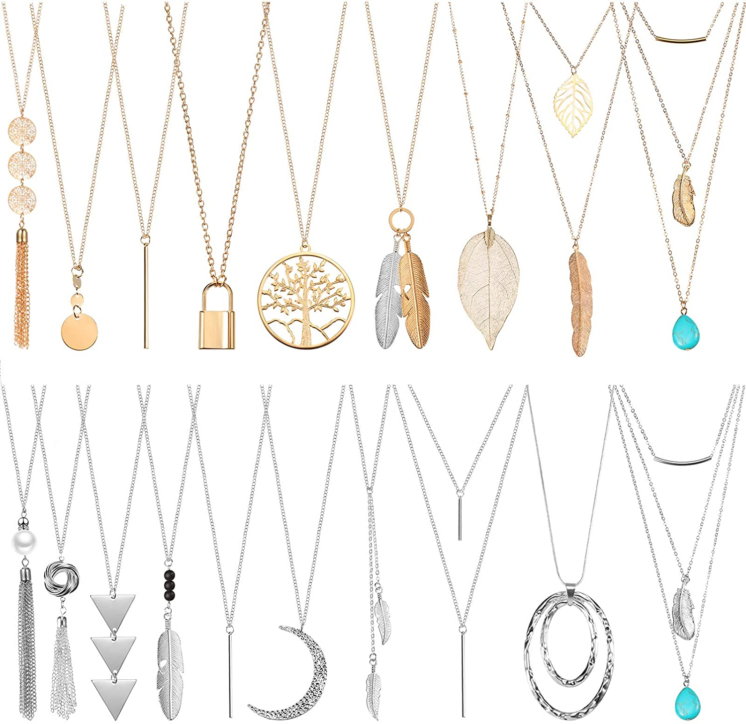 20 Pieces Valentine's Day Long Pendant Necklace Y Tassel Leaf Circle Bar Necklace Simple Bar Layer Tassel Y Charm Necklace Set for Women Girls